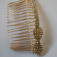 Small Handmade Diamante Bow Hair comb. Gold Hair Comb.