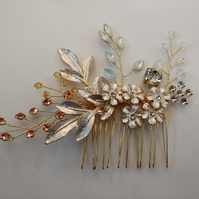 Beautiful Handmade Champagne Gold Hair comb. Gold Hair Comb.