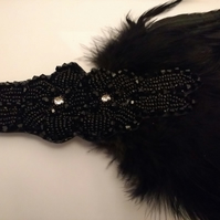 Beautiful Gatsby Black Feather and Bead Head Piece