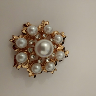 Pretty Gold Pearl Brooch