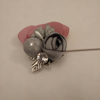 Flower Lapel Pin. Suit Pin. Pink and Gray Lapel Pin. Stick Pin.