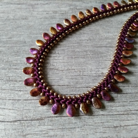 "Purple & Gold Kumihimo Necklace - ""Petalicious"""