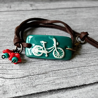 """I Want to Ride My Bicycle"" - Ceramic Bracelet - Bicycle Jewellery"