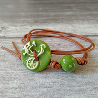 """I Want to Ride My Bicycle"" - Ceramic Button Wrap Bracelet - Bicycle Jewellery"