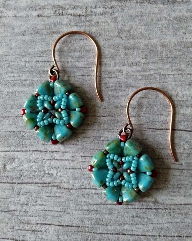 Turquoise & Red Beaded Earrings - Tile Earrings - Square Earrings