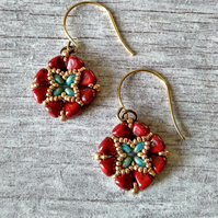 Red & Gold Beaded Earrings - Tile Earrings - Square Earrings
