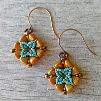Mustard Yellow Earrings - Tile Earrings - Square Earrings
