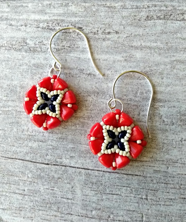 Red, White & Blue Beaded Earrings - Tile Earrings - Square Earrings