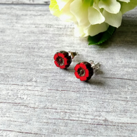 Flower Earrings - Red Earrings - Silver Earrings - Stud Earrings