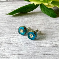 Flower Earrings - Mediterranean Blue Earrings - Stud Earrings