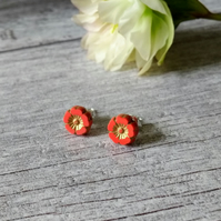 Flower Earrings - Coral and Gold Earrings - Silver Earrings - Stud Earrings
