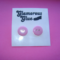 Pink Candy Stripe Button Earrings