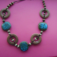 turquoise wooden beaded necklace
