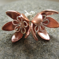 Silver Copper Flower Stud earrings - (made by metasmith) earring, gift, post