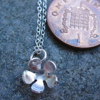 Teeny Tiny  Little Flower Sterling Silver Necklace, Pendant