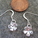 Tiny Little Flowers Sterling Silver Earrings, drop, hook.