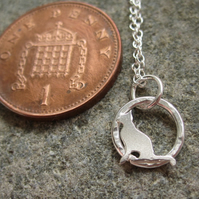 Teeny Little Cat Sterling Silver Pendant Left facing -hand sawn by artist maker