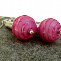 Pink Venetian Murano Glass Sterling Silver Earrings