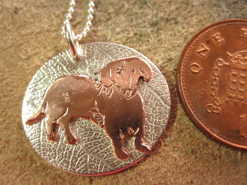 Sale ! Dachshund Silver Pendant - with copper Dachs OOAK