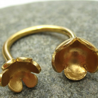 Open Ring - Gold plated silver copper Flower Ring - (made by artist maker)