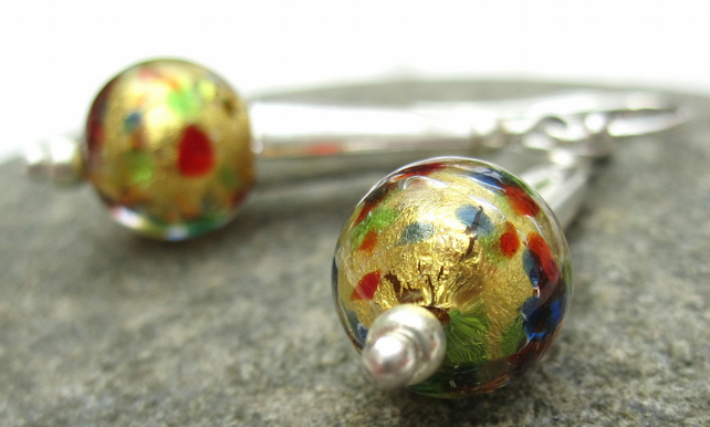 Gold Venetian Murano Glass and Sterling Silver Drop Earrings