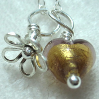 Pendant Golden & Amethyst Venetian Glass Heart & Sterling Silver Flower Necklace