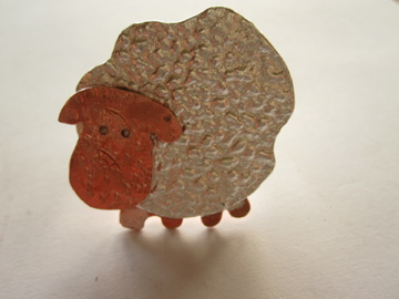 Sheep Ring Silver & Copper Funny Sheep Ring - (made by artist maker)