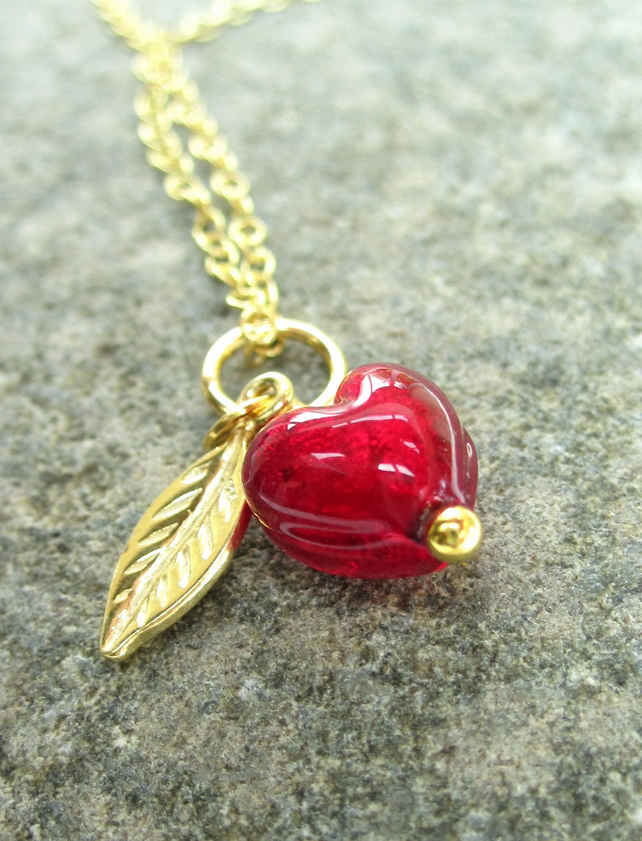 Red Glass Heart Pendant  Little Sweet Heart Gold plated Silver Venetian Necklace