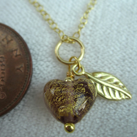 Little Amethyst Sweet Heart Gold plated Silver Venetian Necklace