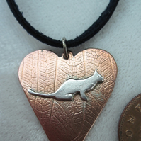 George the Cat Copper Pendant with Sterling Silver   -hand sawn by artist maker