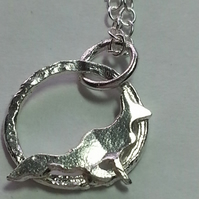 Teeny Little Fox Sterling Silver Pendant -hand sawn by artist maker
