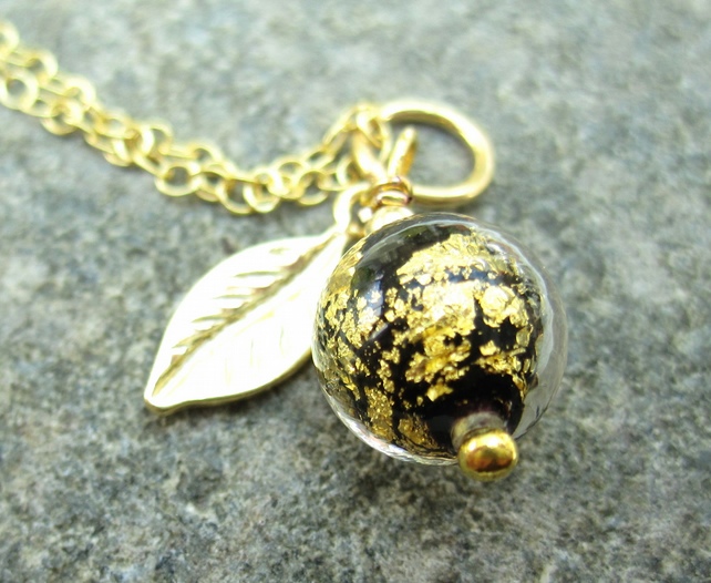 Dark Sphere Gold plated Silver Venetian Necklace