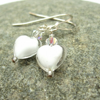 White venetian murano glass, Swarovski crystal and Silver Earrings