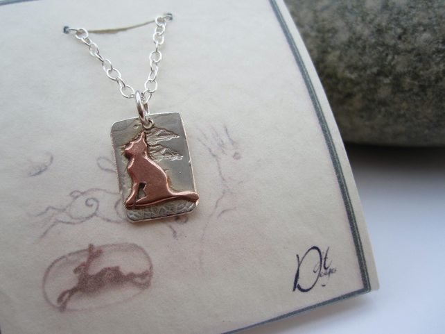 Copper Cat and  Silver Pendant - (Moonlight Series) - necklace