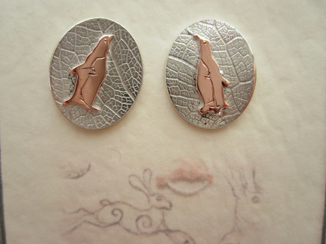 Penguin stud Earrings  Silver Jewellery Spheniscidae Sea Birds