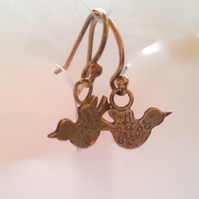 Love Birds Gold Plated Silver Earrings