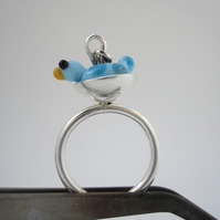 Springtime Bird Silver Ring - (made by artist maker) bird in nest