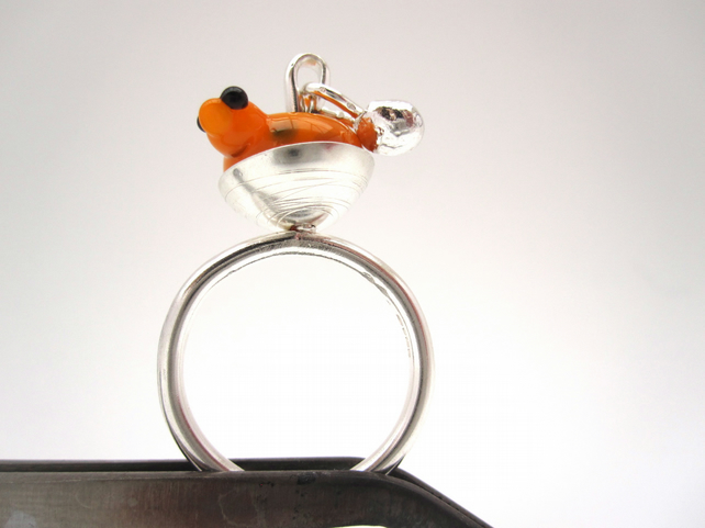 Springtime Bird Silver Ring - (made by artist maker) Birdy ring. Hen ring
