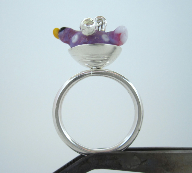 Springtime Bird Silver Ring - (made by artist maker)