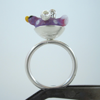Springtime Bird Nest Silver Ring - (made by artist maker)
