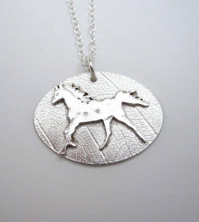 Cantering Horse Silver Pendant - hand cut by metalsmith, pony, equine talisman.