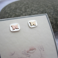 Silver Stud Earrings Butterfly   - Small Butterflies tiny earrings