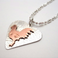 Hen Sterling Silver & Copper Pendant - Chicken Rooster cockrell poultry