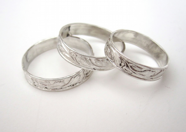 Silver ring, Traditionally Patterned Silver Ring - made  to order in any size.