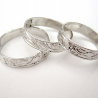 Silver ring, Traditionally Patterned Sterling size Y made to order in any size.