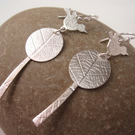 Bird & Tree Earrings  - Silver jewellery. Drop Earring. Handmade Metalsmith.