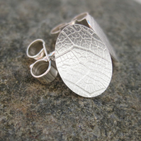Small Silver Stud Earrings  - Handmade in UK imprinted with a leaf pattern