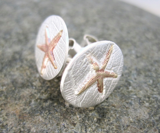 Silver Starfish Stud Earrings  - Handmade in UK
