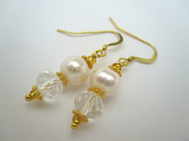 Pearl & Crystal Gold Vermail Earrings - handmade by metalsmith Wedding Quality
