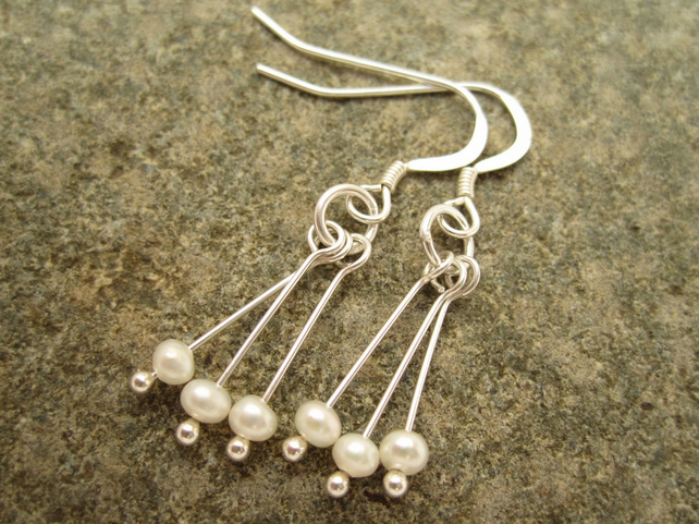 Rain Drop Silver Earrings , Rain Pearl Earrings , Storm Earrings with Rain Drops